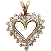 14 Kt Yellow Gold Diamond Heart Pendant 0.50 Ct