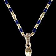 14 Kt Gold Chain Necklace Pendant Enamel Natural Pearl Acorn Rose Cut Diamonds