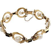 Mikimoto Link Bracelet 14K Yellow Gold Cultured Pearls Black Onyx Vintage
