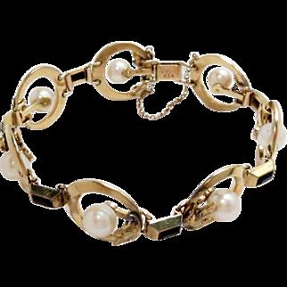 Mikimoto Link Bracelet 14K Yellow Gold Cultured Pearls Black Onyx Vintage