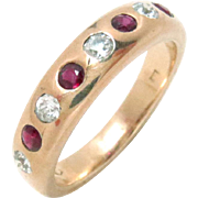 Vintage Ring Band 14 Kt Gold Ruby and Diamond 1930 Size 6.75