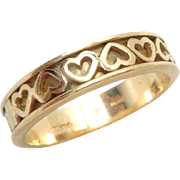 Tiffany & Co. Wedding Band 18 K Gold Hearts Vintage 7.5, 4.5 mm W