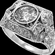 Platinum Diamond Ring Art Deco European Cut 1.70 Ct GIA