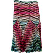 Missoni Knit Skirt Multi Color Zigzag 1980s Vintage Size 10