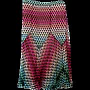 Missoni Knit Skirt Multi Color Zigzag 1980s Vintage Size 10