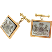 18kt Gold Cufflinks Agate Seal Crest Prince Albert 11th Hussars