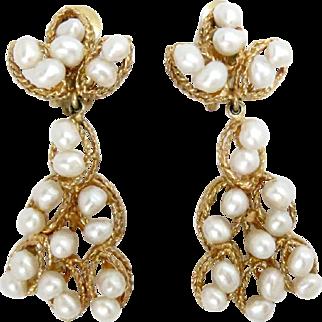 14 Kt Yellow Gold Earrings Pearls Drop Chandelier Dangling Retro 1950s.