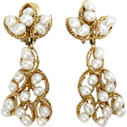 Vintage Earrings 14 Kt Yellow Gold Pearls Drop
