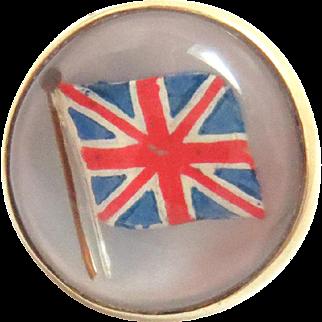 14 Kt Gold Pin Flag United Kingdom Essex Reverse Crystal Collar Brooch Vintage
