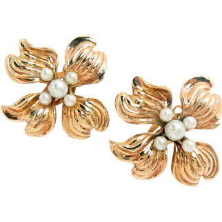 14Kt Rose Gold Floral Earrings Pearls Clip and Post