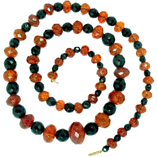 Antique Natural Faceted Amber and Onyx Bead Necklace 9Kt Gold Clasp