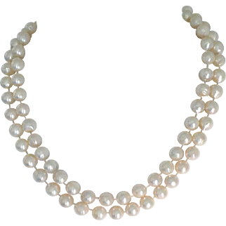 "Vintage Japanese Akoya Cultured Pearl Semi-Baroque Necklace 34"", 10 mm"
