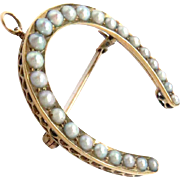 14Kt Gold Horseshoe Pin Pendant with Natural Pearls Antique