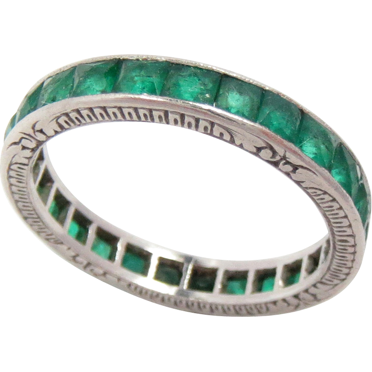 eternity band emerald west east bands platinum rose cut nicole