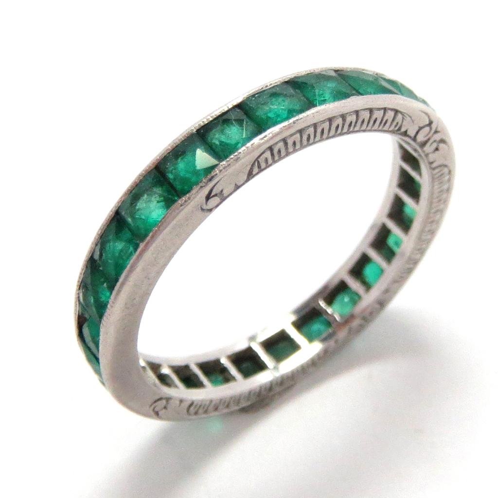 wedding eternity band ring platinum emerald vintage sold