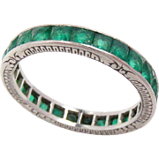 Wedding Eternity Band Ring Platinum Emerald Vintage Size: 6.25, 2.7 mm Wide