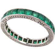 Vintage Wedding Eternity Band Ring Platinum Emerald Size: 6.25, 2.7 mm Wide