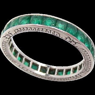 Vintage Wedding Eternity Band Ring Platinum Emerald Size: 6.25, 2.7 mm Wide