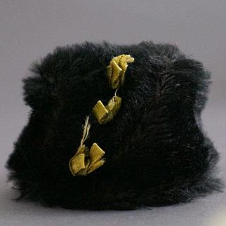 Original Black Mohair Cap for Olaf, the Steiff Felt Doll, 1909