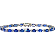 10 Ct Sapphires and 1.25 Ct Diamonds Straight Line Bracelet in 14 Kt Gold