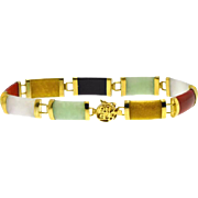 Multi Gemstone Station Bracelet in 10kt Gold