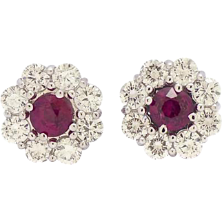 Fine Pair of Ruby and Diamond Earrings, Late Last Century.