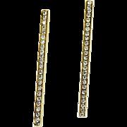 2 inch 1 ct Diamond Bar Earring in 14 kt Gold