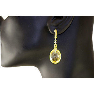 Judith Ripka 18 kt Yellow Gold Canary Crystal Dangling Earring diamonds