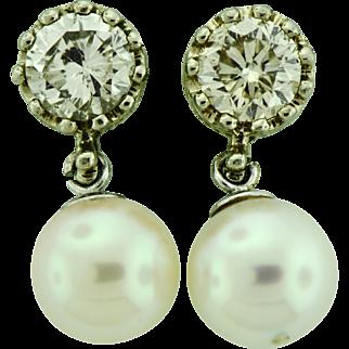 Vintage 2.30 ct Diamond Stud Earrings with Dangling Akoya Pearls.