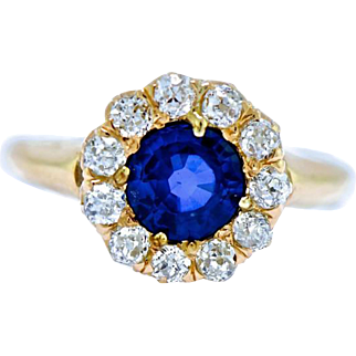 Antique Diamond Sapphire Ring