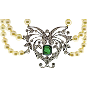 A Rare Belle Epoque Emerald and Diamond Pendant Necklace,Platinum and Pearls