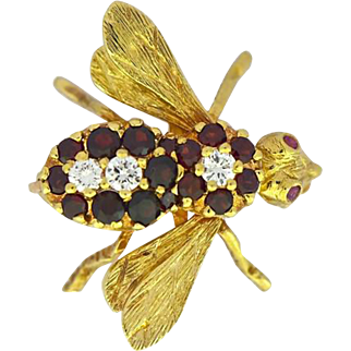 Vintage Bumble Bee Pin Brooch with Diamond & Ruby.