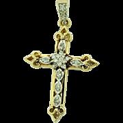 Vintage Cross Diamond Pendant in 14k Gold.