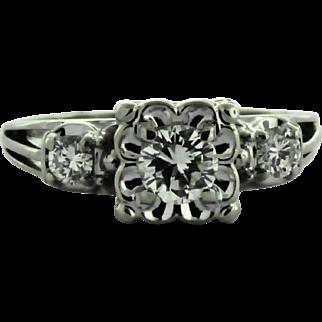 Vintage Petite Diamond Engagement Ring in 14 kt Gold, Circa 1950-60