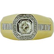 Vintage Large 2.20 ct Diamond Solitaire Gents Ring in 18 kt Gold