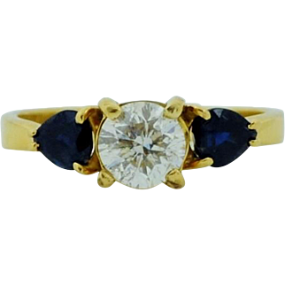 Estate 1 Ct Diamond Flanked By 0.75 Ct Sapphires Engagement Ring