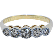 Vintage 5 Stone Diamond Band in 18kt Gold