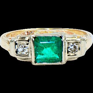 Estate Emerald Diamond Ring in 14k Gold
