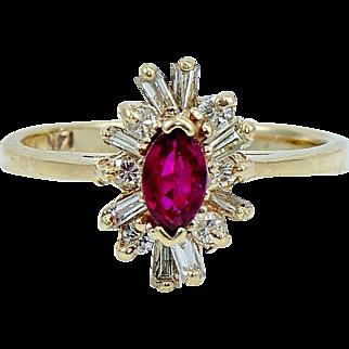 Vintage Ruby Diamond Ballerina Ring in 14 kt Gold.