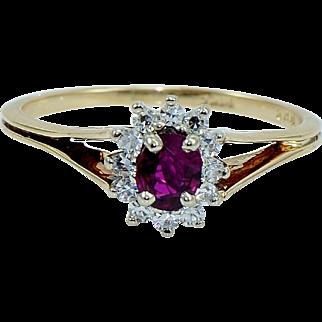 Vibrant Ruby Diamond Vintage Ring in 14 kt Gold