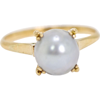 Antique Natural South Sea Pearl 18kt Gold Ring