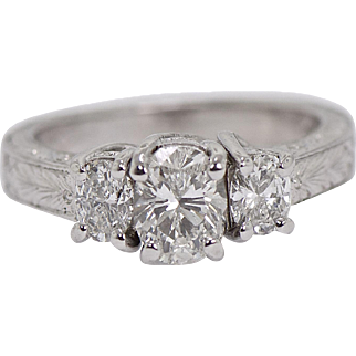 Platinum 1.25 ct Diamond Oval 3 Stone Ring