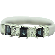 Vintage Diamond Sapphire Band in 14k Gold.