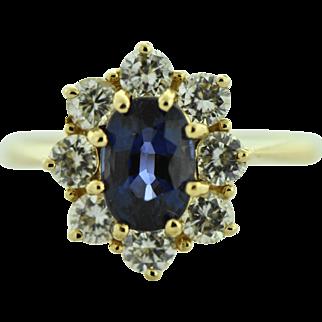 Vintage Blue Sapphire in Diamond Halo Ring