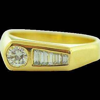 Vintage Men's Diamond Ring in 18k Gold