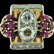Art Nouveau 1.20 Ct European Cut Diamond Ruby Ring