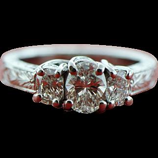 Platinum 1.25 ct Diamond Oval 3 Stone Ring