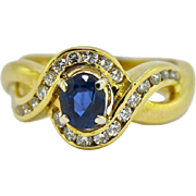 18kt Sapphire Diamond Engagement Ring