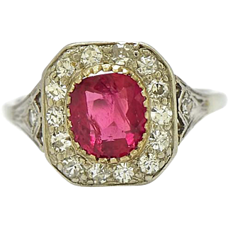 G.I.A Thai Ruby Art Deco Platinum Diamond Ring
