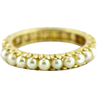 Vintage 14 kt Eternity Pearl Band